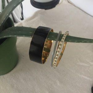 J. Crew bangle bracelets gold black white